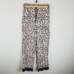 Victoria secret leopard print pants lace hem xs